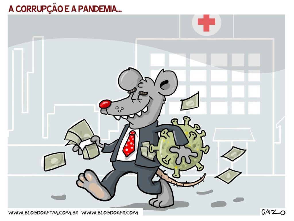 Charge: A corrupção e a pandemia. -